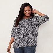Plus Size LC Lauren Conrad Pintuck Peasant Top