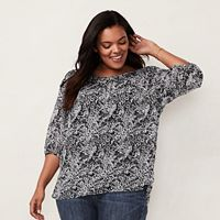 Plus Size LC Lauren Conrad Pintuck Peasant Top