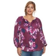 Plus Size Jennifer Lopez Floral Lace-Up Top