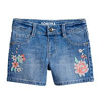 Girls 4-12 SONOMA Goods for Life™ Embroidered Floral Shortie Denim Shorts