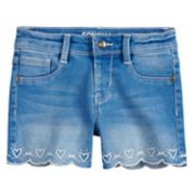 Girls 4-12 SONOMA Goods for Life? Embroidered Heart Scalloped Hem Shortie Denim Shorts