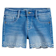 Girls 4-12 SONOMA Goods for Life™ Embroidered Heart Scalloped Hem Shortie Denim Shorts