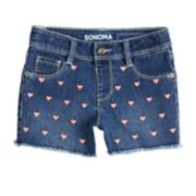 Girls 4-12 SONOMA Goods for Life™ Heart Embellishment Shortie Denim Shorts