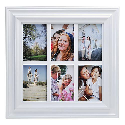 "Melannco White Window Pane 6-Opening 4"" x 6"" Collage Frame"