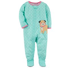 Toddler Girl Carter's Pug Dog Polka Dot Footed Pajamas