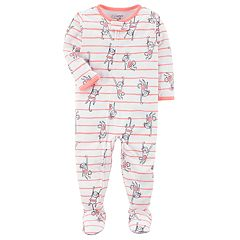 Baby Girl Carter's Stripes & Monkeys One-Piece Footed Pajamas