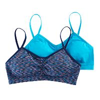 Girls Maidenform 2-pk. Space-Dyed & Solid Seamless Ruched Bras
