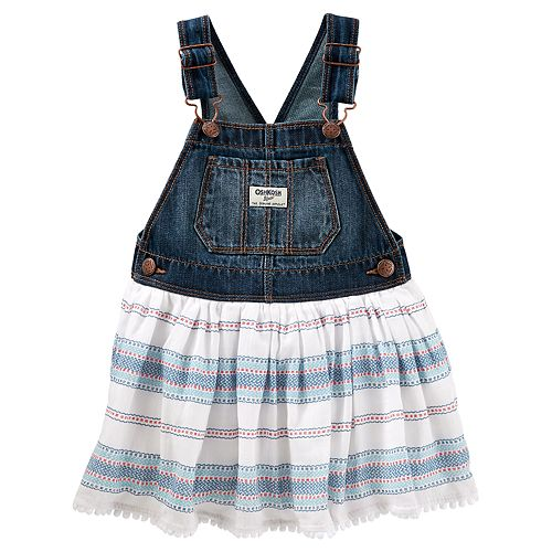 Toddler Girl OshKosh B'gosh® Pom-Trim Denim Jumper