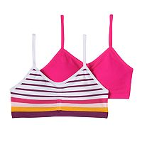 Girls Maidenform 2-pk. Stripe & Solid Seamless Ruched Bras