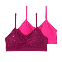 Girls Maidenform 2-pk. Speckled & Solid Seamless Ruched Bras