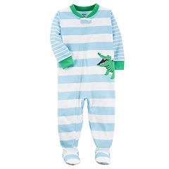 Baby Boy Carter's Striped Alligator One-Piece Footed Pajamas