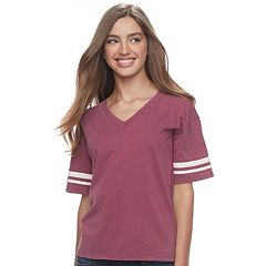 Juniors' Pink Republic Varsity Stripe Tee