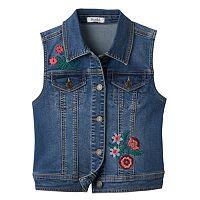 Girls 7-16 Mudd® Floral Embroidered Denim Vest
