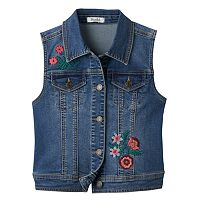 Girls Plus Size Mudd® Floral Embroidered Denim Vest