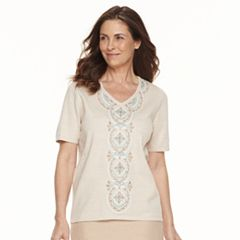 Petite Alfred Dunner Studio Embroidered Short-Sleeve Sweater