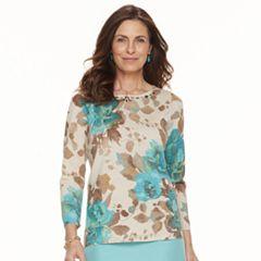 Petite Alfred Dunner Studio Embellished Floral Sweater