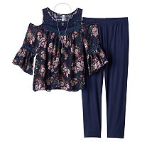 Girls Plus Size Knitworks Cold Shoulder Crochet Chiffon Top & Leggings Set with Necklace
