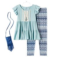 Girls Plus Size Knitworks Ruffle Tunic & Patterned Leggings Set with Necklace & Crossbody Purse