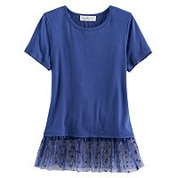 Girls 7-16 Cloud Chaser Tulle Hem Patterned Tee