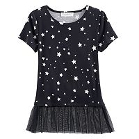 Girls Plus Size Cloud Chaser Tulle Hem Patterned Tee