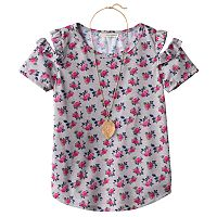 Girls 7-16 Self Esteem Patterned Cold Shoulder Top with Necklace