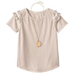 Girls Plus Size Self Esteem Patterned Cold Shoulder Top with Necklace