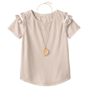 Girls Plus Size Self Esteem Patterned Cold Shoulder Top with Necklace