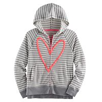 Girls Plus Size SO® Puff-Print Perfect Zip-Up Hoodie