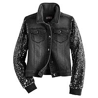Girls 7-16 SO® Sequin Sleeve Denim Jacket