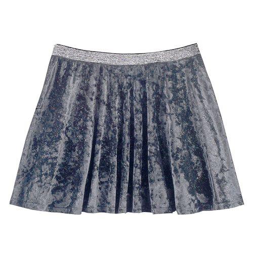 Girls Plus Size SO® Metallic Crushed Velvet Circle Skirt