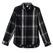 Girls Plus Size Mudd® Embroidered Back Plaid Button-Down Shirt