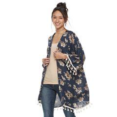 Mudd® Floral Kimono with Tassels