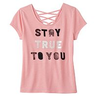 Girls 7-16 Mudd® Criss-Cross Lattice Back Tee