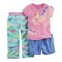 Baby Girl Carter's Dinosaur Party Hat Top & Bottoms Pajama Set