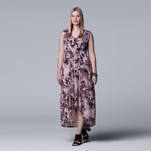 Plus Size Simply Vera Vera Wang Pleated High-Low Maxi Dress