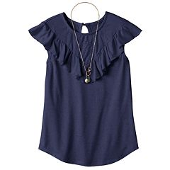 Girls 7-16 Self Esteem Crochet Lace Flounce Overlay Top with Necklace