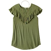 Girls Plus Size Self Esteem Crochet Lace Flounce Overlay Top with Necklace