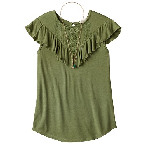 Girls Plus Size Self Esteem Crochet Lace Flounce Overlay Top with Necklace