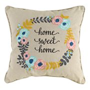 Wreath ''Home Sweet Home'' Throw Pillow