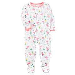 Baby Girl Carter's Flamingo Print Footed Pajamas