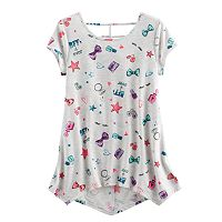 Girls 7-16 SO® Patterned Cageback Handkerchief Hem Legging Tee