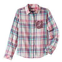 Girls 7-16 SO® Shine Plaid Button-Down Shirt