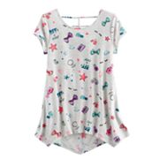 Girls Plus Size SO® Patterned Cageback Handkerchief Hem Legging Tee