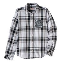 Girls Plus Size SO® Shine Plaid Button-Down Shirt
