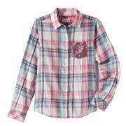 Girls Plus Size SO® Shine Plaid Button-Down Shirt