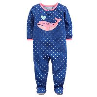 Baby Girl Carter's Whale & Polka-Dot Footed Pajamas