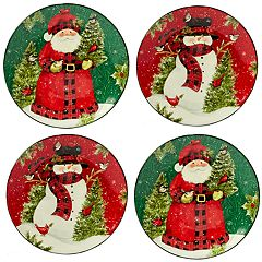 Certified International Winter's Plaid 4-pc. Dinner Plate Set