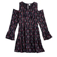 Girls 7-16 Mudd® Cold-Shoulder Bell Sleeve Patterned Dress