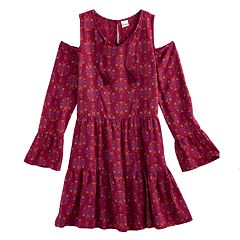 Girls Plus Size Mudd® Cold-Shoulder Bell Sleeve Patterned Dress