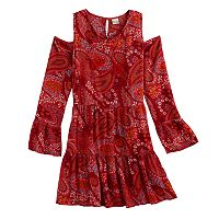 Girls Plus Size Mudd® Cold-Shoulder Bell Sleeve Patterned Dress